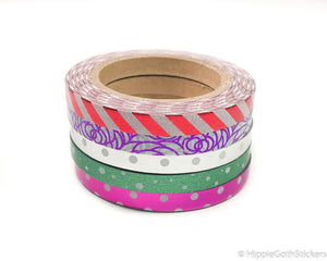 Skinny Foil Washi Set of 5