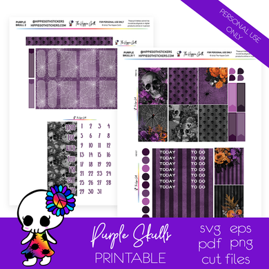 Purple Skulls and Flowers Weekly Kit Printable