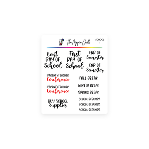 School Calendar Script Stickers