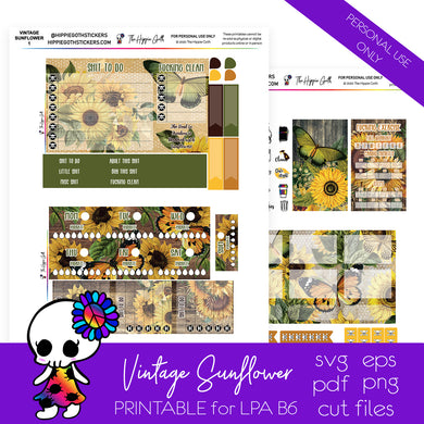 Vintage Sunflower LPA B6 Printable