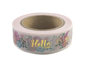 Floral with Gold Foil Hello Washi
