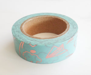 Paper Airplane Pink Foil Washi