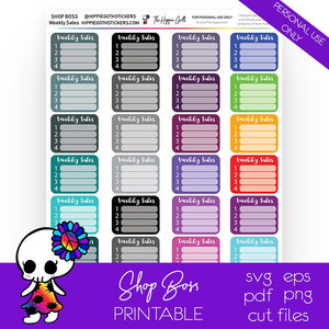Weekly Sales Printable