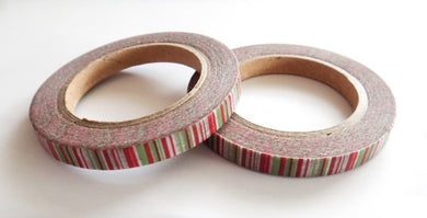 Red and Green Striped Skinny Washi Set of 2