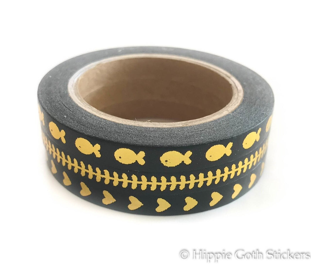 Black and Gold Foil Skinny Washi Set of 3