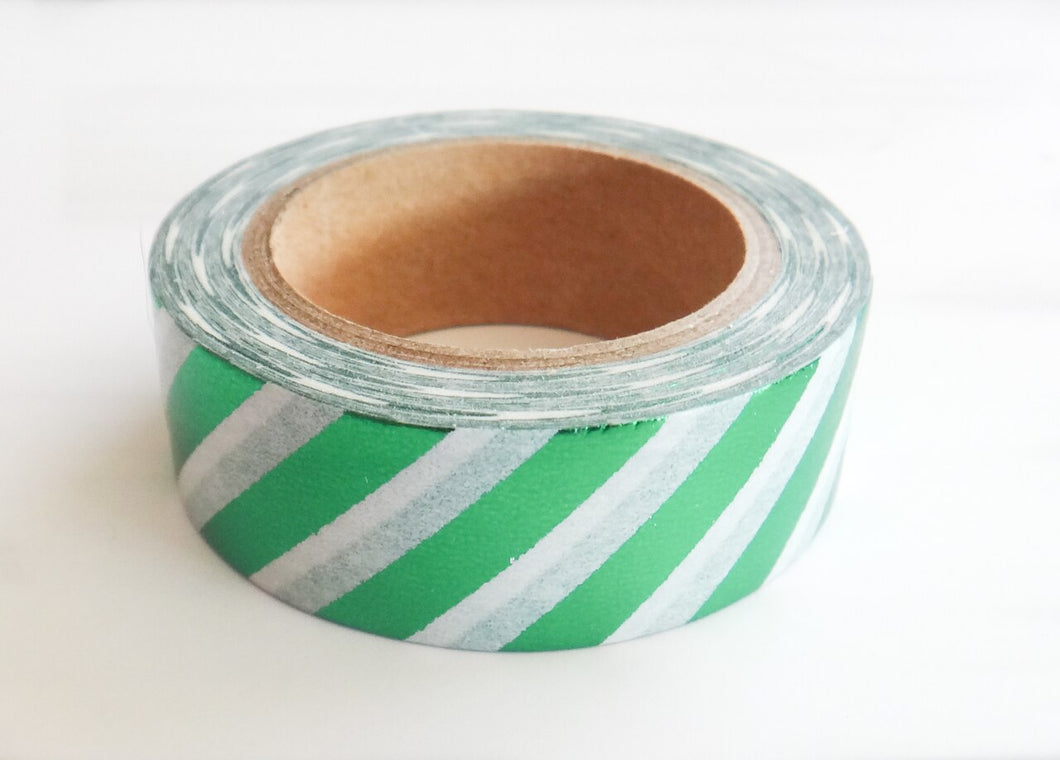 Green Foil Striped Washi