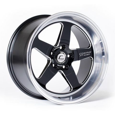 Cosmis XT-005R Wheel Black w/ Machined Lip & Milled Spokes 94-04 Mustang
