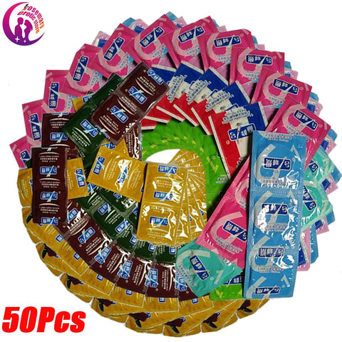 50 Pcs Condoms Adult Large Oil Condom  Smooth Lubricated Condoms For Men Penis Contraception Intimate Erotic Sex Toy Random ship