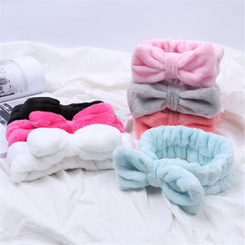 Coral Fleece Hair Bow Cross Headband For Wash Face Makeup Lady Bath Mask Cosmetic Hairband Girl Holder Rope Hair Accessories