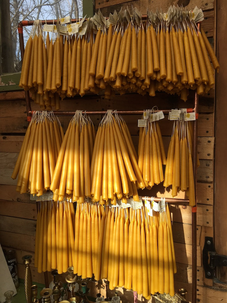 Alysia Mazzella beeswax candles hand poured in Upstate New York