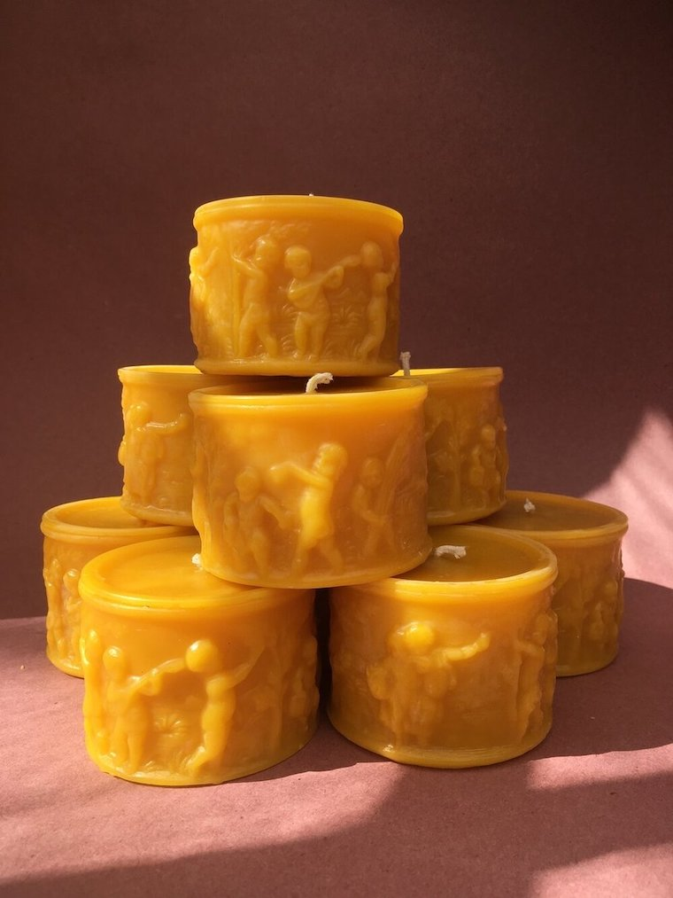 Mirth Pillar Candle beeswax by Alysia Mazzella