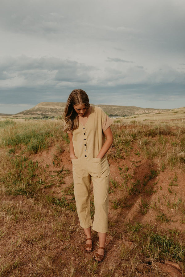 A lightweight Jumpsuit made from homespun, handwoven 100% cotton and natural dyes only. Made by Happy French Gang available to shop at Hyperbole in Beacon in the Hudson Valley of New York.