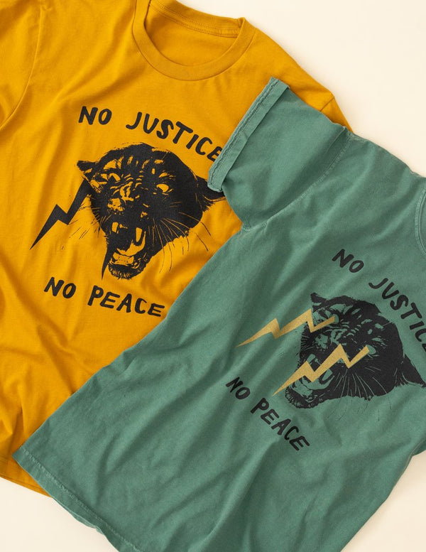 No Justice No Peace Tee designed by Philadelphia Printworks, based on the well know protest chant