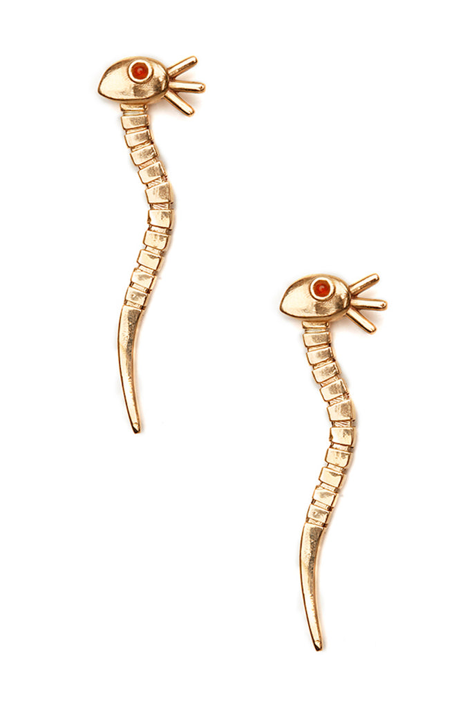 serpent snake rings, brass and carnelian stone made by Brooklyn designer Podobena Jewelry, available to shop at Hyperbole in the Hudson Valley in New York