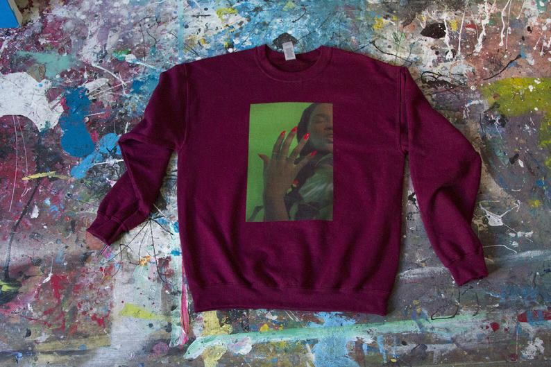 cotton sweatshirt digitally printed with the artist's original photography with woman's imagery. Muse Sweatshirt by Dash Kolos, NYC artist available at Hyperbole in New York's Hudson Valley in Beacon.
