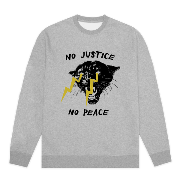 No Justice No Peace sweatshirt designed by Phildelphia Printworks based on the well know protest chant