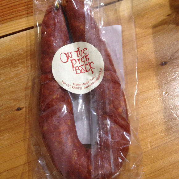 Hot  & Spicy Chorizo. Pure pork.  Made in France. Retailing at On The Pig's Back
