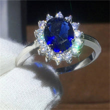Load image into Gallery viewer, 2Pcs/Set 2018 Luxury Green Blue Stone Crystal Rings For Women Sliver Color Zirconia Wedding Engagement Ring Jewelry Size 6 7 8 9