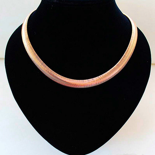 10mm Women's Snake Chain Necklace Brief Rose Gold Color Copper Chain Wide Collar Choker Necklaces Fashion Female Jewlery