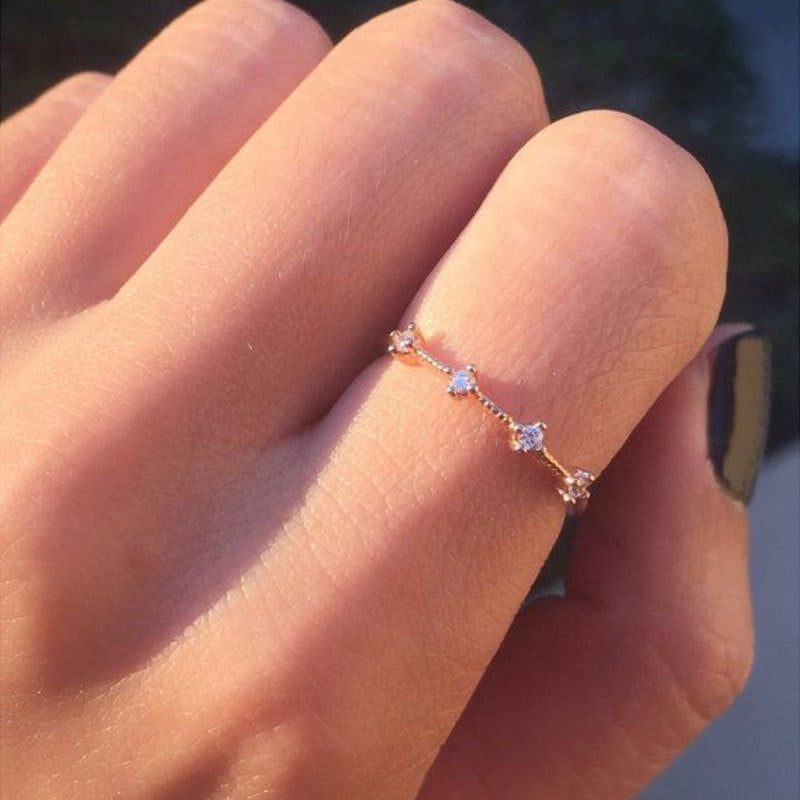 Japan And South Korea Rhinestone Rings For Women Silver Gold Rings Fresh Wedding Female Charm Knuckle Ring Crystal Jewellery