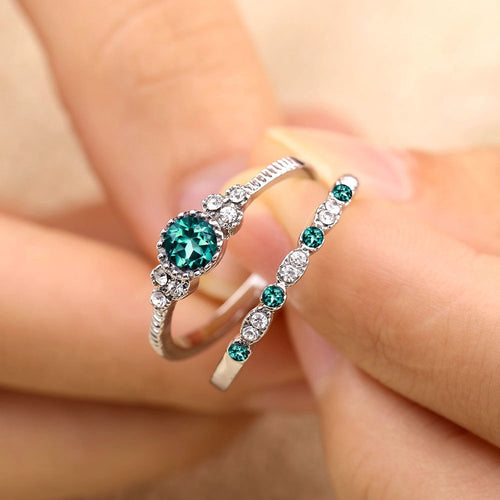 2Pcs/Set 2018 Luxury Green Blue Stone Crystal Rings For Women Sliver Color Zirconia Wedding Engagement Ring Jewelry Size 6 7 8 9
