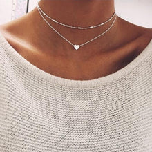 Load image into Gallery viewer, Tiny Heart Choker Necklace for Women gold Silver Chain Smalll Love Necklace Pendant on neck Bohemian Chocker Necklace Jewelry