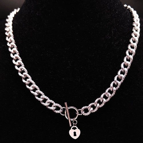 2019 Heart Lock Stainless Steel Choker Necklace for Women jewlery Silver Color Steampunk Necklaces Jewelry collier femme N18027