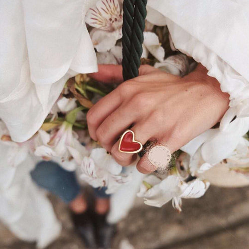 2019 New Arrivals Must Have Vintage Gold Color Red Heart Rings For Women Minimalist Party Knuckle Rings Size 7