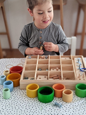 open ended play with nesk kids nuts and bolts box