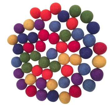 Papoose Felt Rainbow Balls 3.5 cms - Set of 49 Papoose Toys