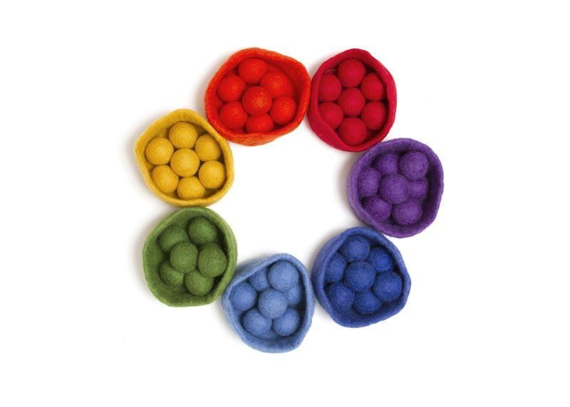 Papoose Sorting Felt Balls and Bowl Set (56 pieces) Papoose Toys