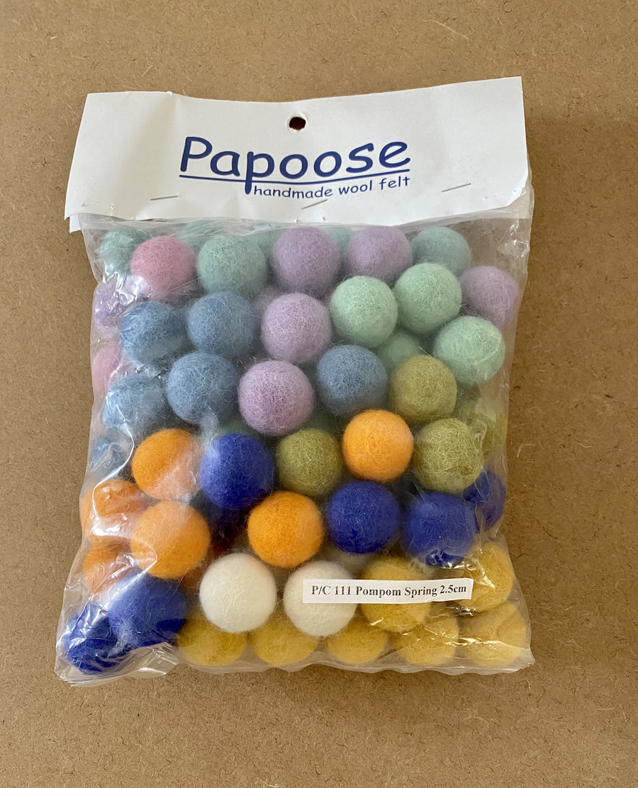 Papoose Spring Pom Poms 2.5cm (100 pieces) Papoose Toys