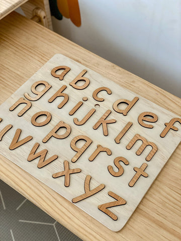 Wooden Alphabet Letters and Puzzle Board Birch Please