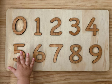 Wooden Numbers and Puzzle Board Birch Please