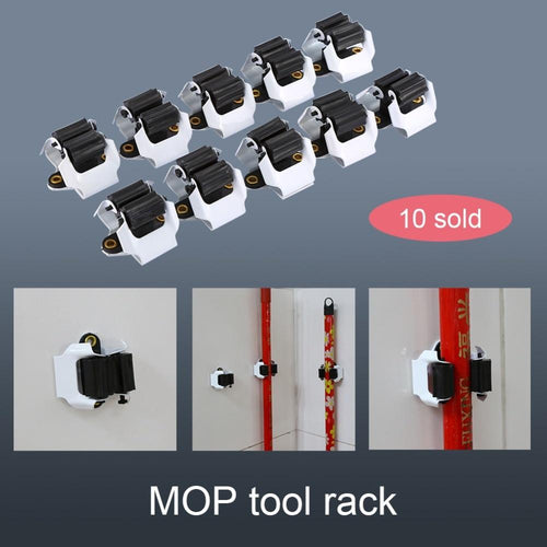 10PCS Kitchen Mop Broom Holder Wall Mounted Organizer Brush Storage Hanger Tool