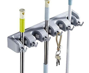 GTHUNDER Mop Broom Holder 5 Position with 6 Hooks,Garden Tools Wall Mounted Storage Solution for Garage,Garden and Laundry Offices
