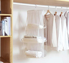 Load image into Gallery viewer, Featured wolunwo hanging purse handbag organizer breathable non woven closet storage holder bag with 6 easy access clear pockets white