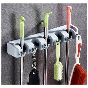 5 Slots 6 Hooks for Rake Mop Wall Holder Hooks For Household Broom Holder Garden Tool Garage Organizer