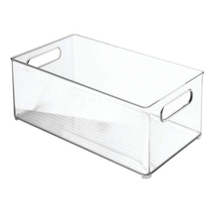 Top mdesign largeplastic storage organizer bin holds crafting sewing art supplies for home classroom studio cabinet or closet great for kids craft rooms 14 5 long 4 pack clear