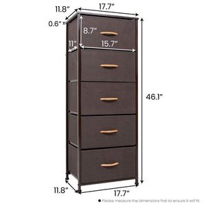 Discover the best crestlive products vertical dresser storage tower sturdy steel frame wood top easy pull fabric bins wood handles organizer unit for bedroom hallway entryway closets 5 drawers brown