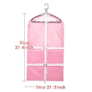 On amazon qees pink costume garment bag with 4 zipper pockets 37 clear kids garment bags dance costume bags childrens garment costume bags for dance competitions travel and closet storage yfz71 3 pcs