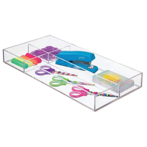 Shop here mdesign plastic divided drawer organizer for home office desk drawer shelf closet holds highlighters pens scissors adhesive tape paper clips note pads 4 sections 16 long 4 pack clear