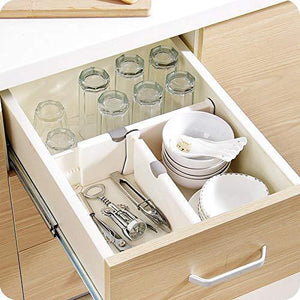 Heavy duty 4 pack adjustable drawer dividers organizer separators good grips dresser organizer for bedroom bathroom closet baby drawer desk kitchen storage