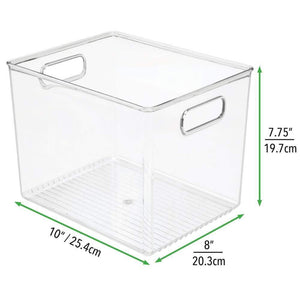 Select nice mdesign plastic home storage basket bin with handles for organizing closets shelves and cabinets in bedrooms bathrooms entryways and hallways 4 pack clear