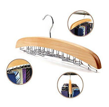 Load image into Gallery viewer, Discover dbao pro tie rack for closet premium natural wooden tie hanger organizer with 24 rotatable swivel metal stainless steel hook for men women scarf tie belt versatility rack organizer hanger