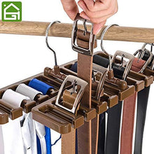 Load image into Gallery viewer, Purchase gano zen sturdy plastic tie belt scarf rack organizer closet wardrobe space saver belt hanger with metal hook
