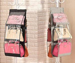 Featured geboor hanging handbag organizer dust proof storage holder bag wardrobe closet for purse clutch with 6 larger pockets black
