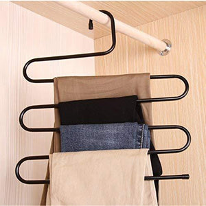 Order now ds pants hanger multi layer s style jeans trouser hanger closet organize storage stainless steel rack space saver for tie scarf shock jeans towel clothes 4 pack
