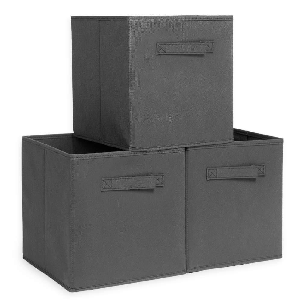 Save ximivogue storage box storage bins 3 pack storage cube basket bins cloth folding box closet drawers container dresser basket organizer shelf collapsible for underwear sock bra tight kids toy brown