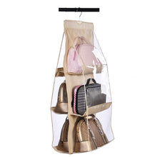 Load image into Gallery viewer, Cheap vercord 6 pocket hanging purse handbag tote storage holder organizer dust proof closet wardrobe hatstand space saver beige
